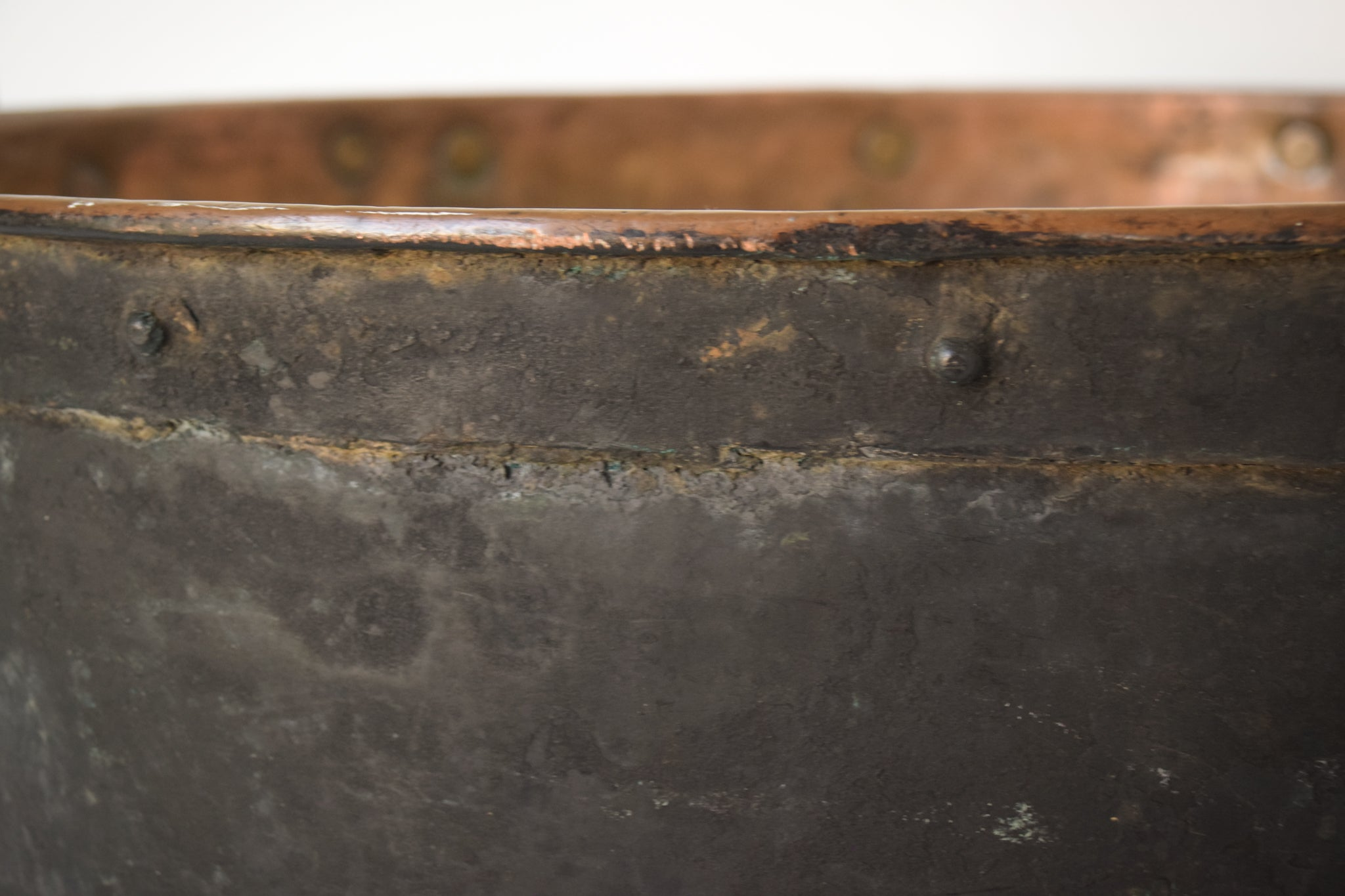 Large Decorative Handmade Riveted Copper Pot_Detail