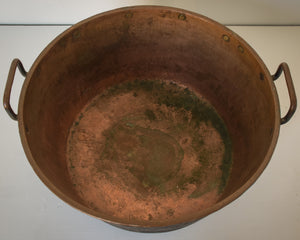 Large Decorative Handmade Riveted Copper Pot_Above view