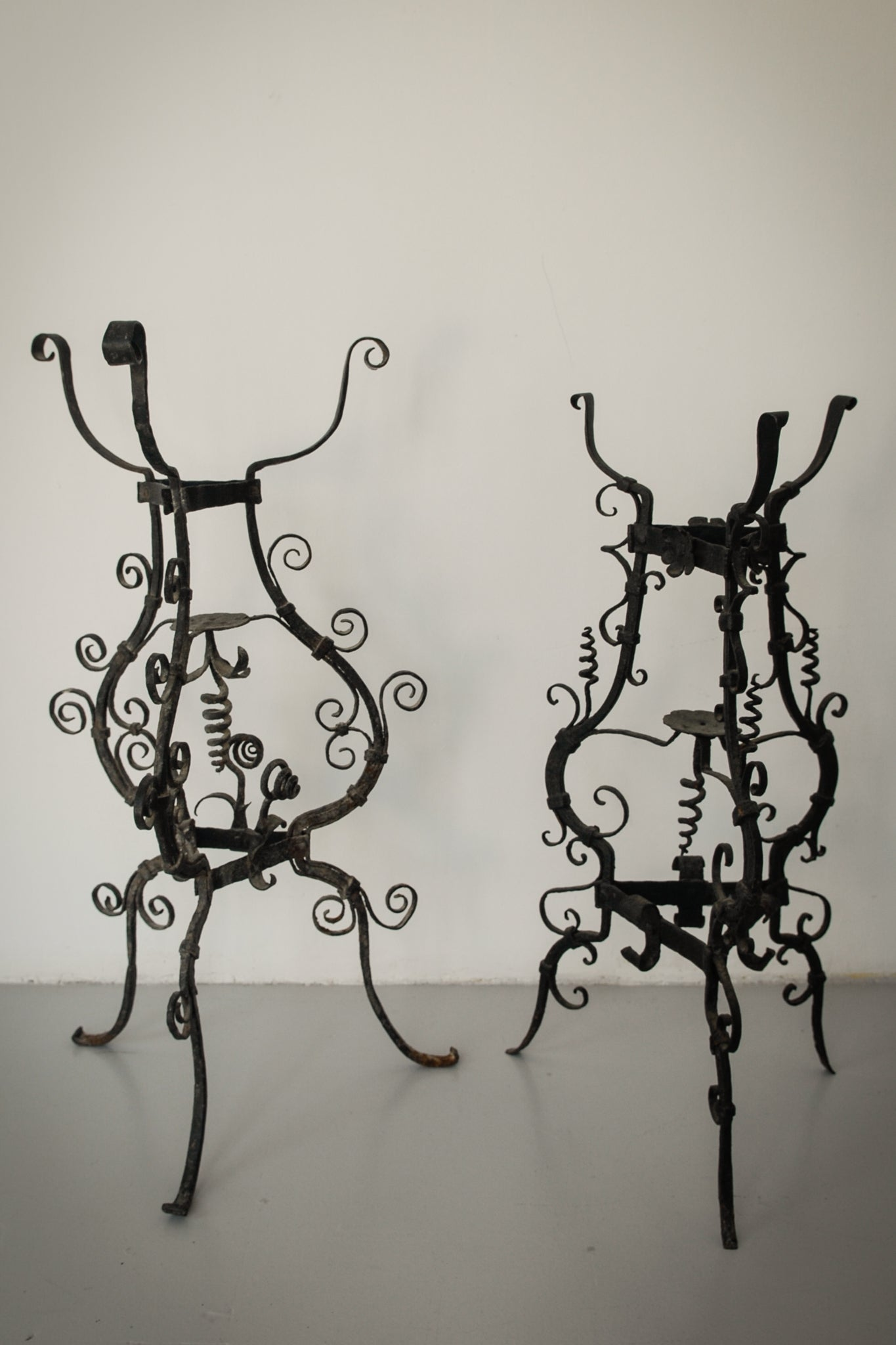 Pair of Wrought Iron Antique Washbowl Stands