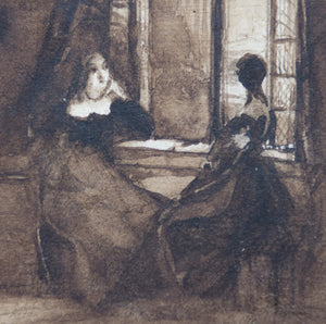 Ladies by a Window - India Ink Drawing_Detail