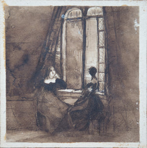 Ladies by a Window - India Ink Drawing