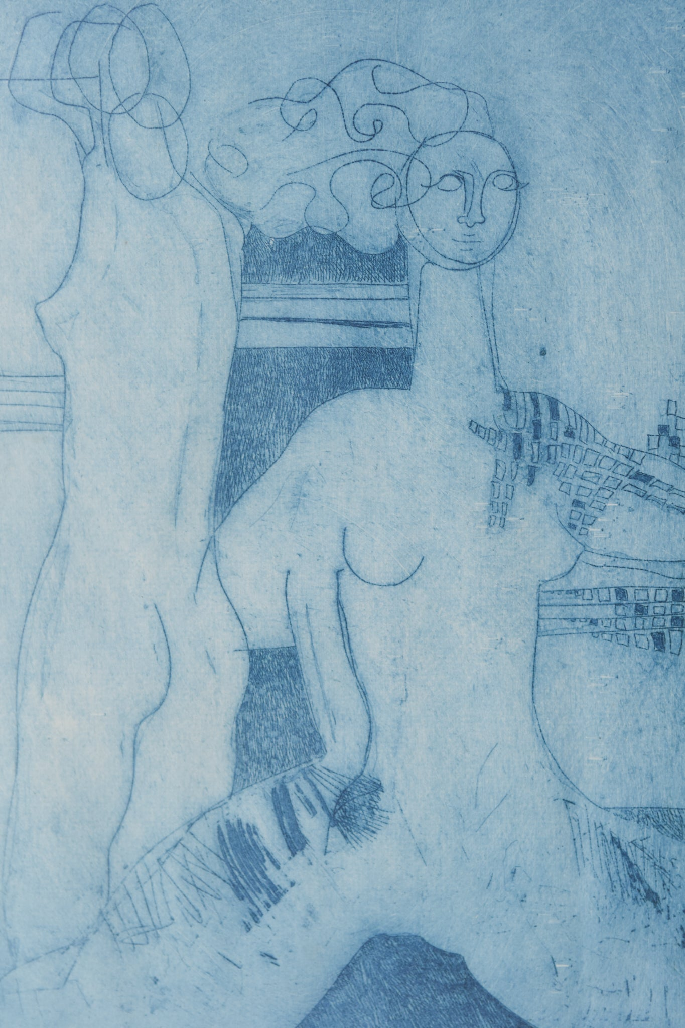 Etching with Nude Figures and Abstract Design_Detail