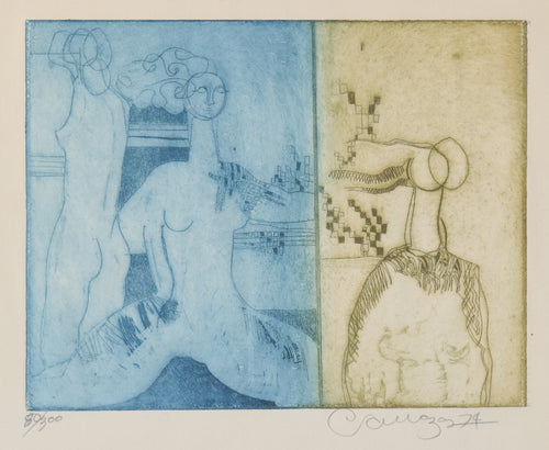 Etching with Nude Figures and Abstract Design
