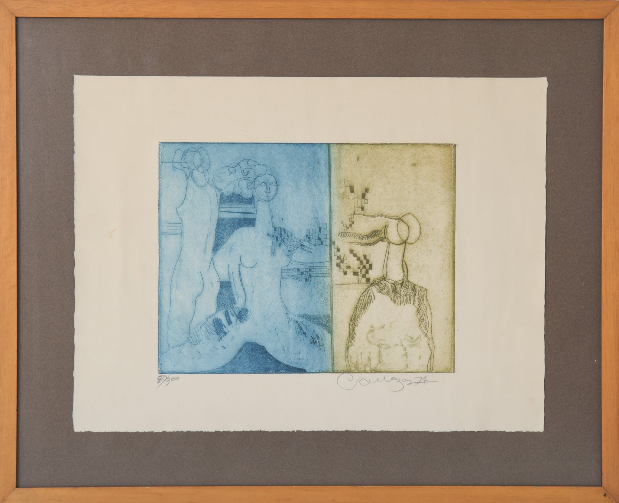 Etching with Nude Figures and Abstract Design_Framed