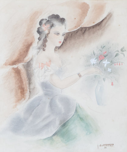 Watercolour of a Lady and Flowers by J. Estiante