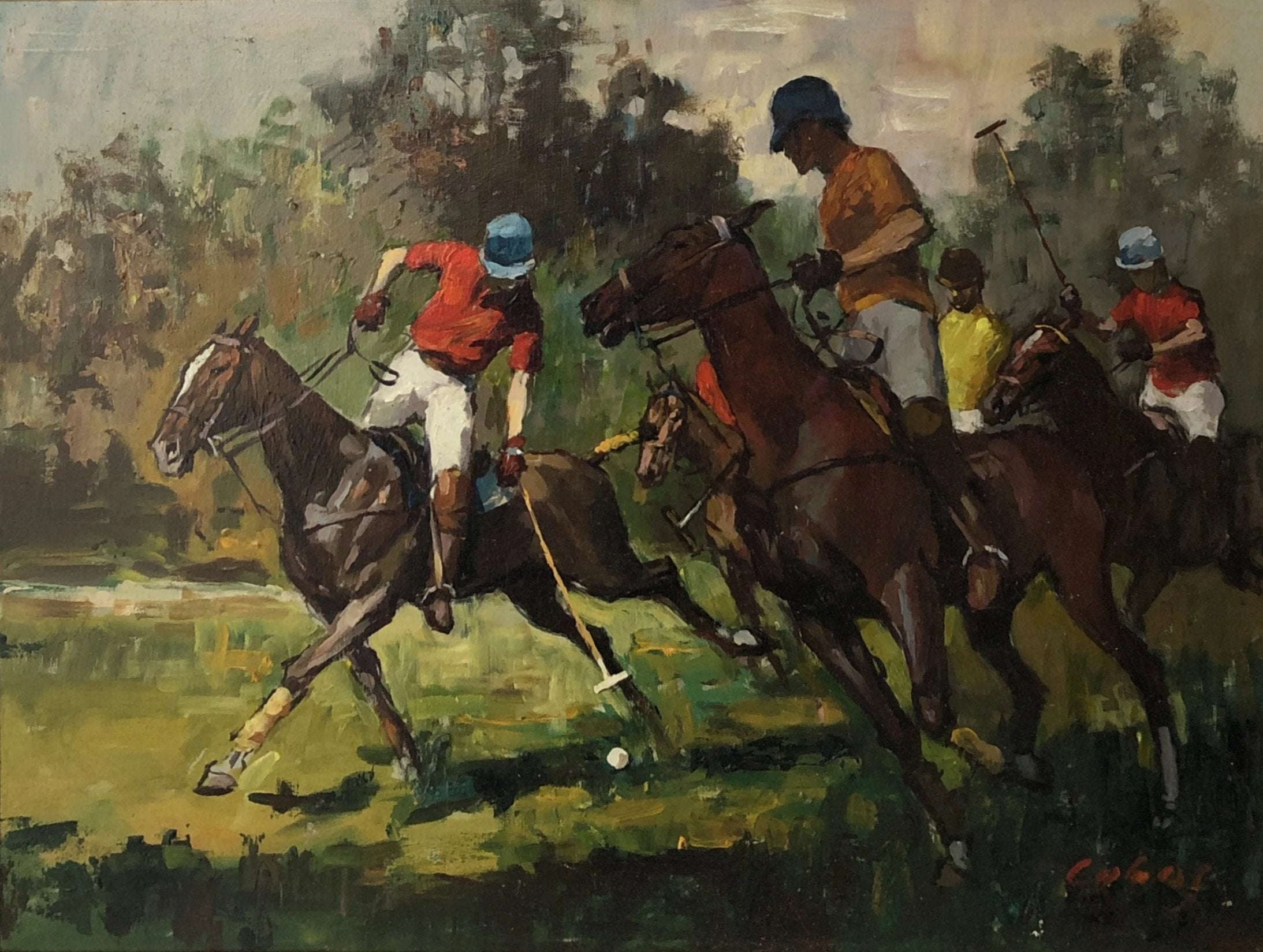 Polo Players Original Oil on Board Signed