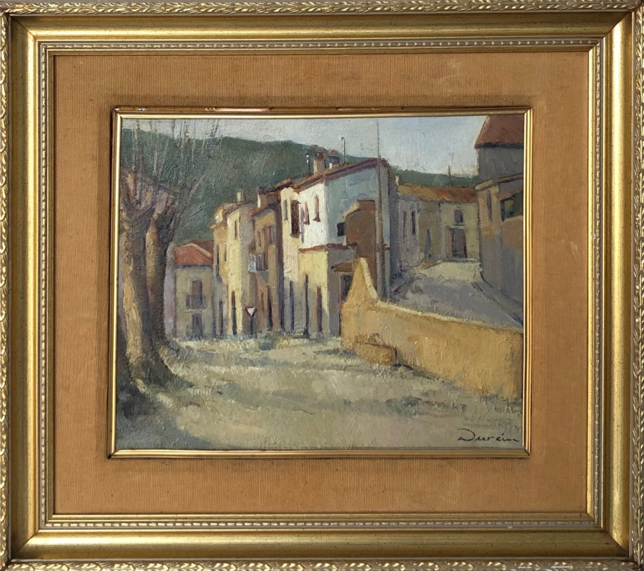 Rural Street Scene, 1940-60 by Durán. Oil on Board_Framed