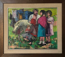 Load image into Gallery viewer, Family with Cart and Pony_Framed