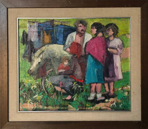 Family with Cart and Pony_Framed