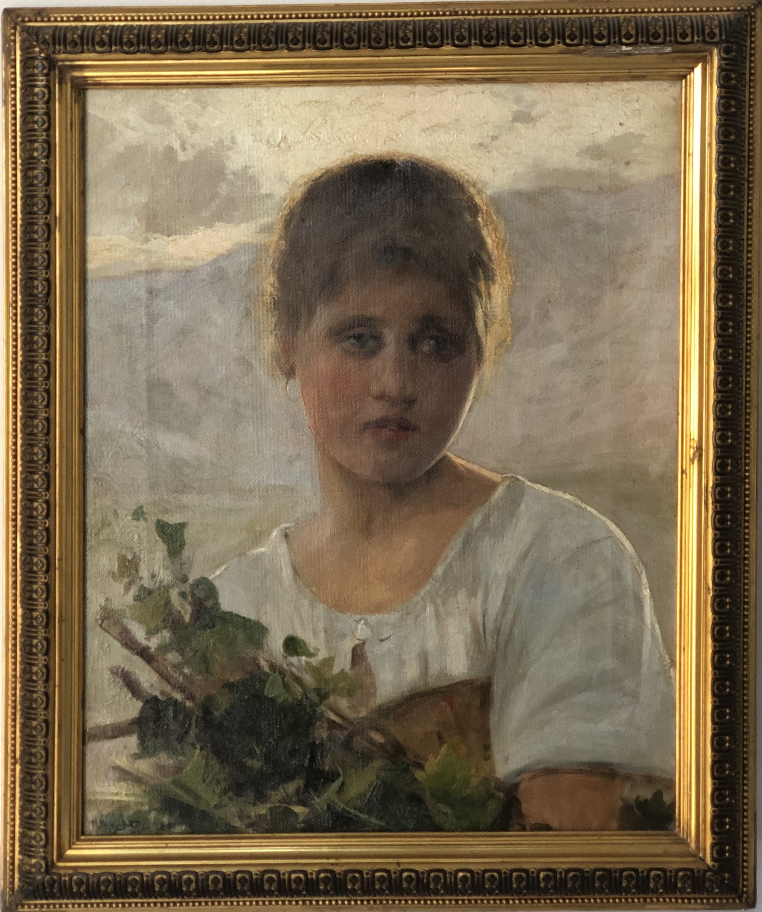 Girl with bouquet of flowers. 1890. Oil on canvas