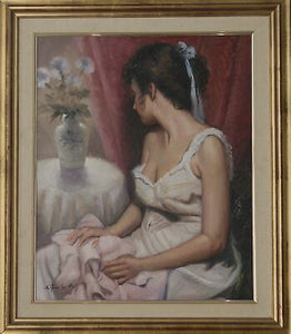 Girl looking at a vase of flowers. Oil Painting On Canvas. Signed Original.