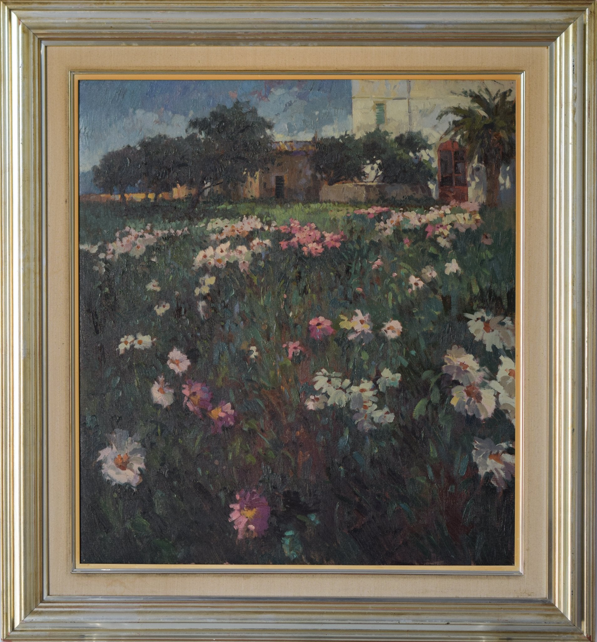 Large Landscape scene with Floral meadow_Framed