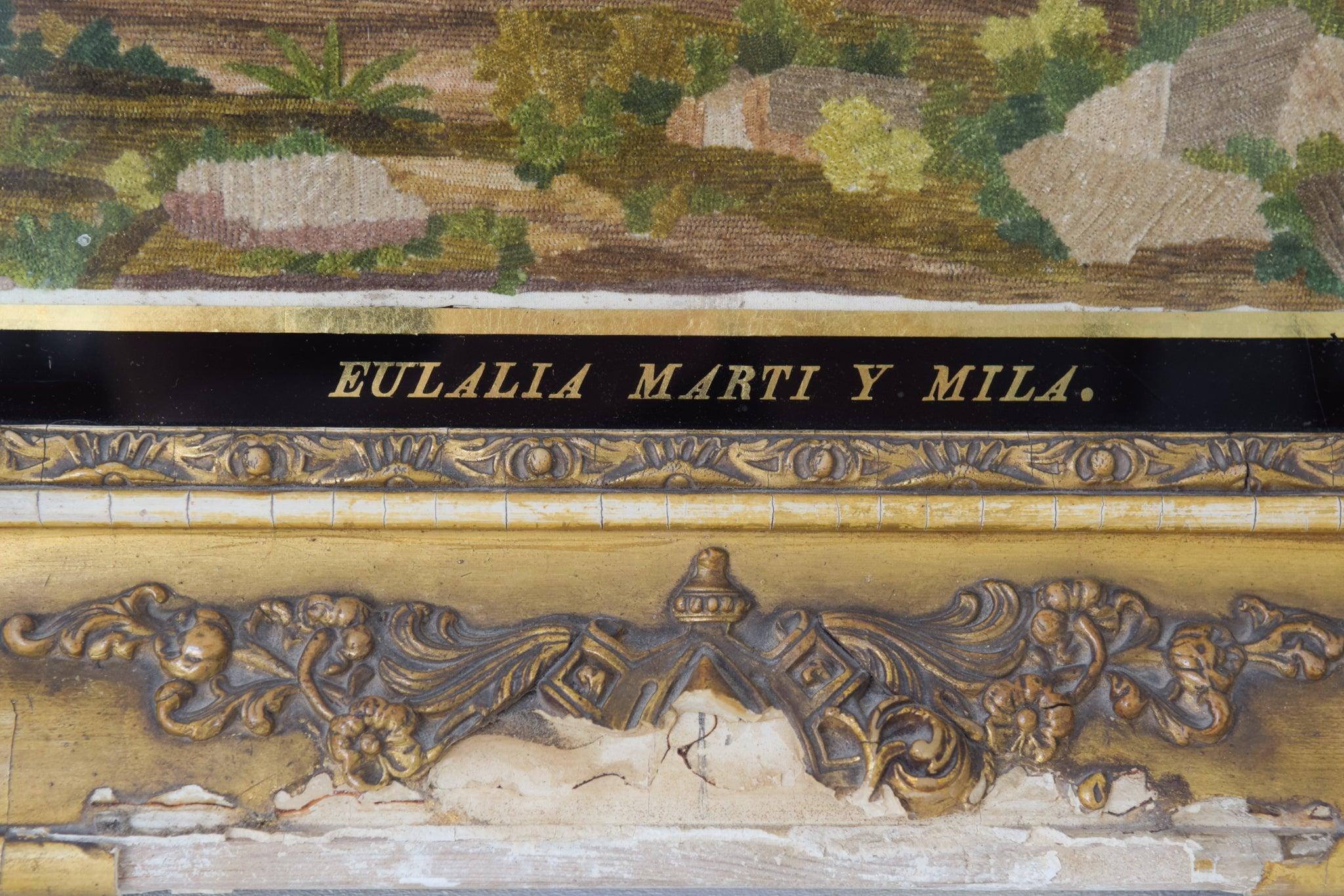 Large Frame with Embroidery and Painting