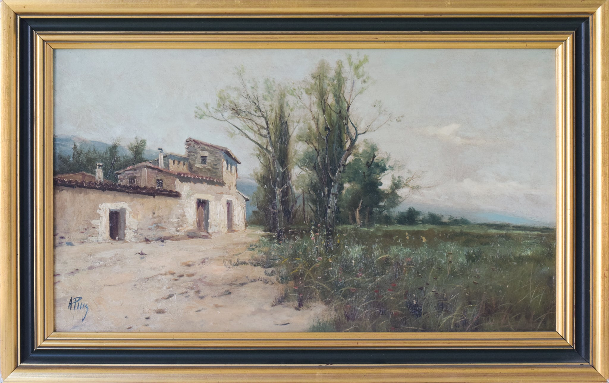Spanish Landscape with Farmhouse and Wildflower Meadow_Framed