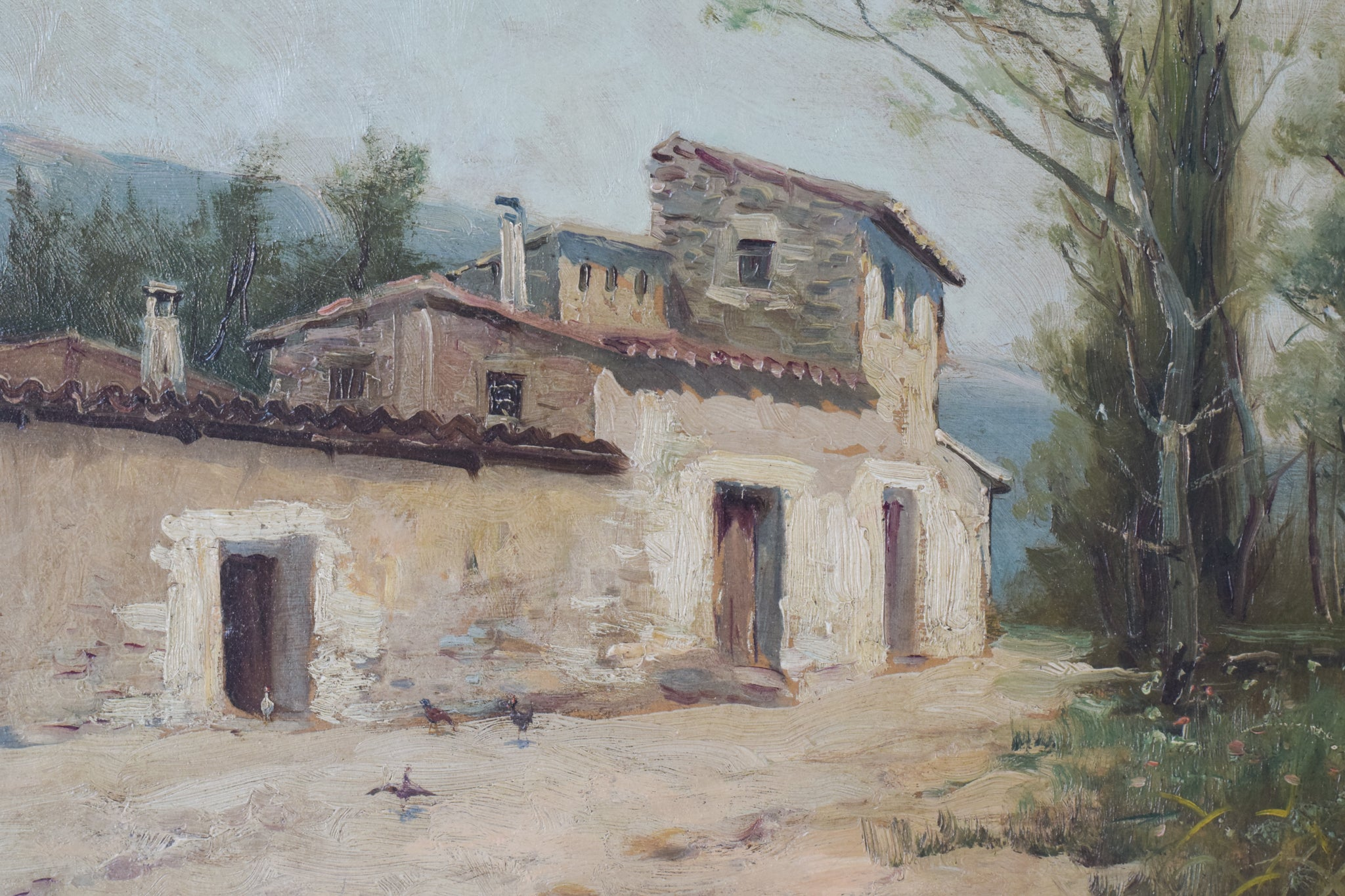 Spanish Landscape with Farmhouse and Wildflower Meadow_Detail