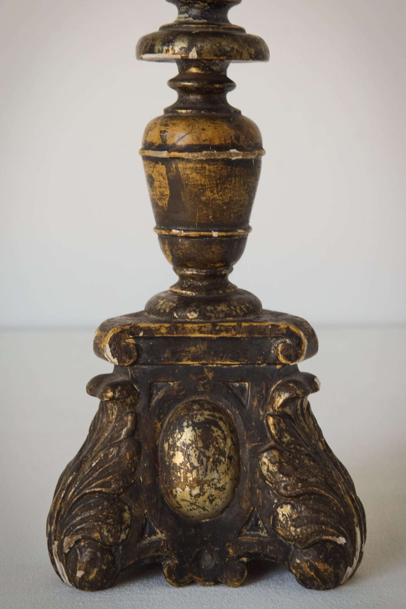 Early gilded wood 18th century candlestick