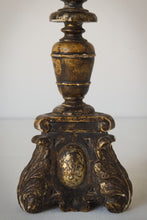 Load image into Gallery viewer, Early gilded wood 18th century candle stick