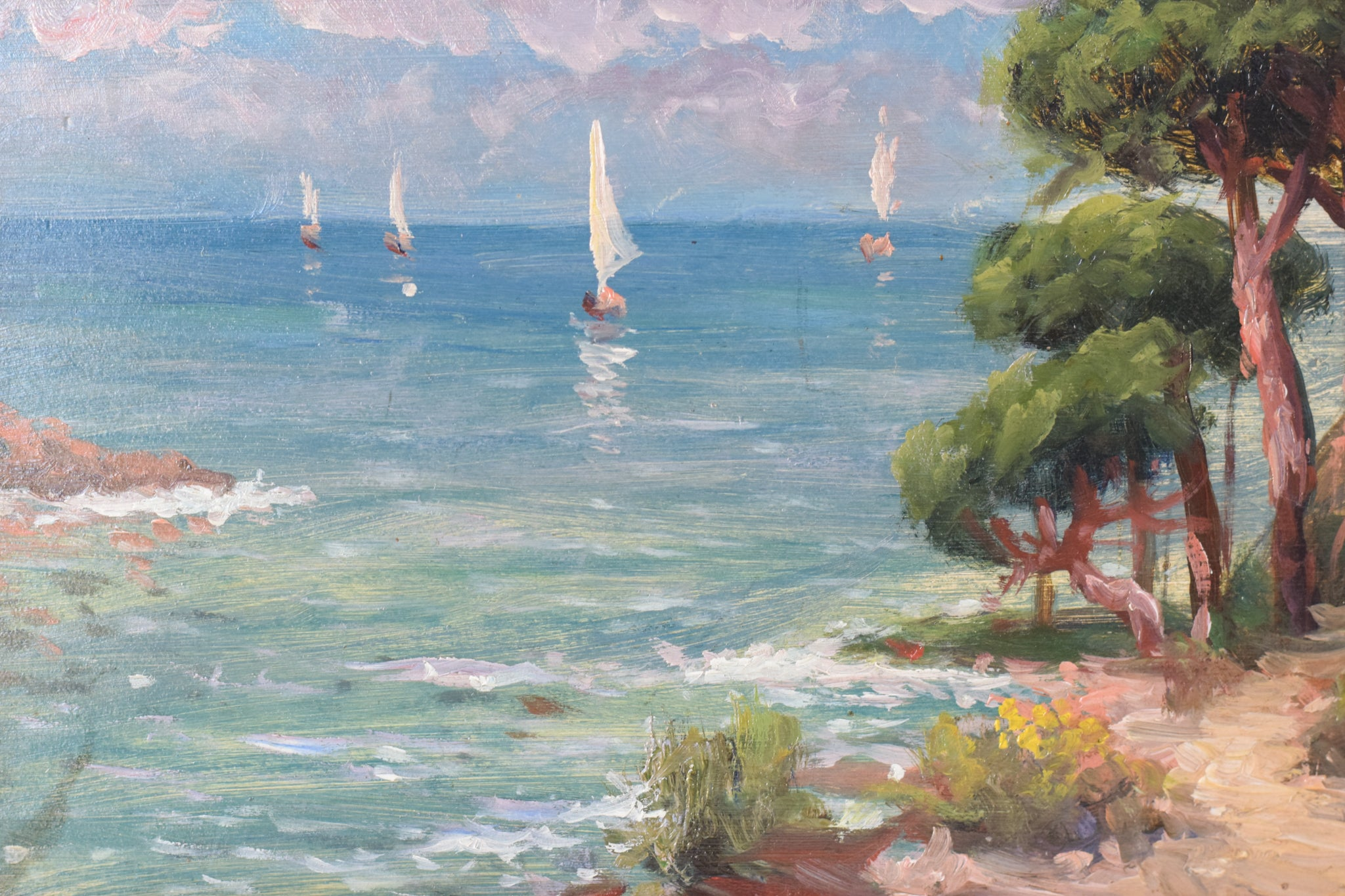 Coastal Landscape with Sailings Boats and Flowers_Detail
