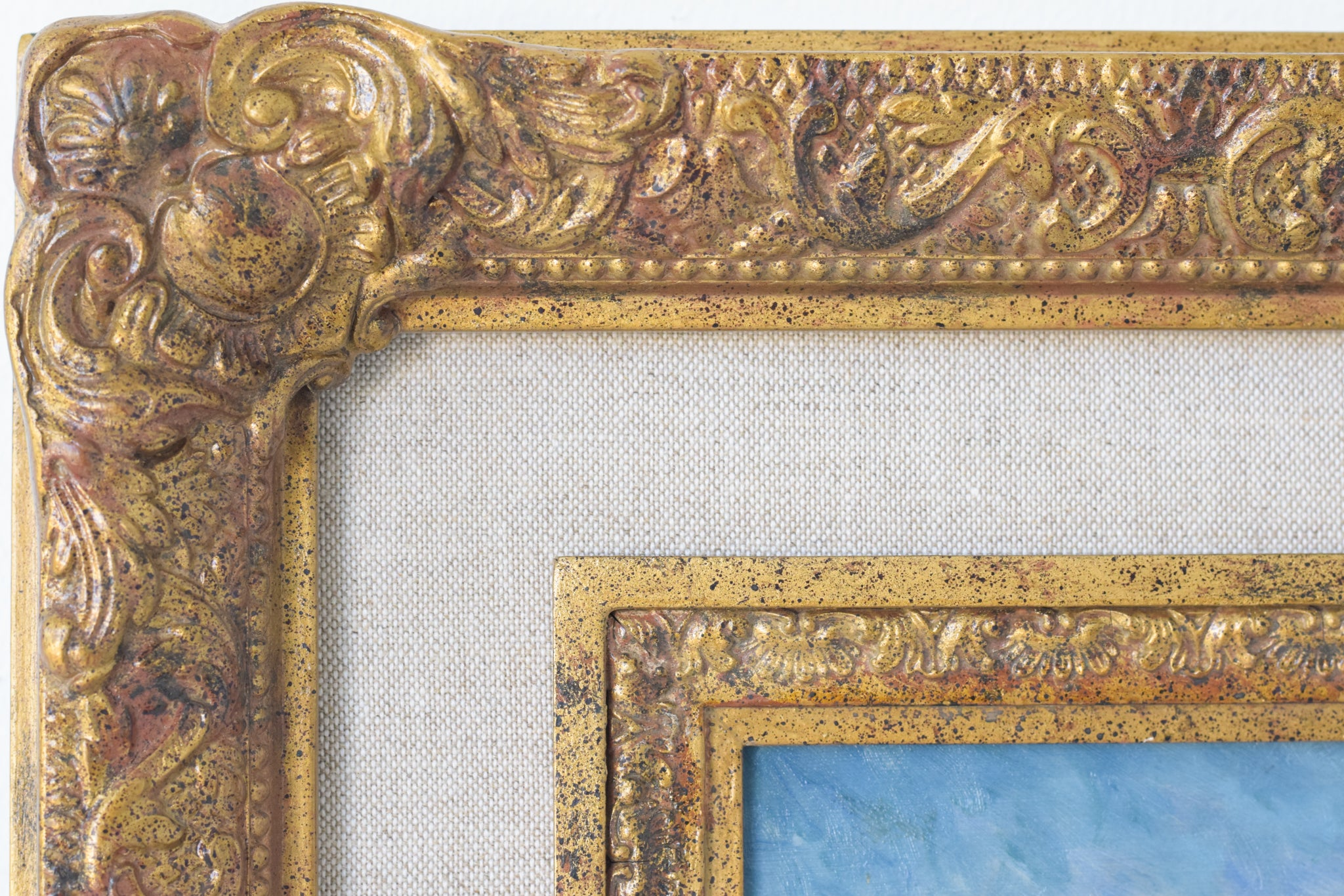 Coastal Landscape with Sailings Boats and Flowers_Frame Detail