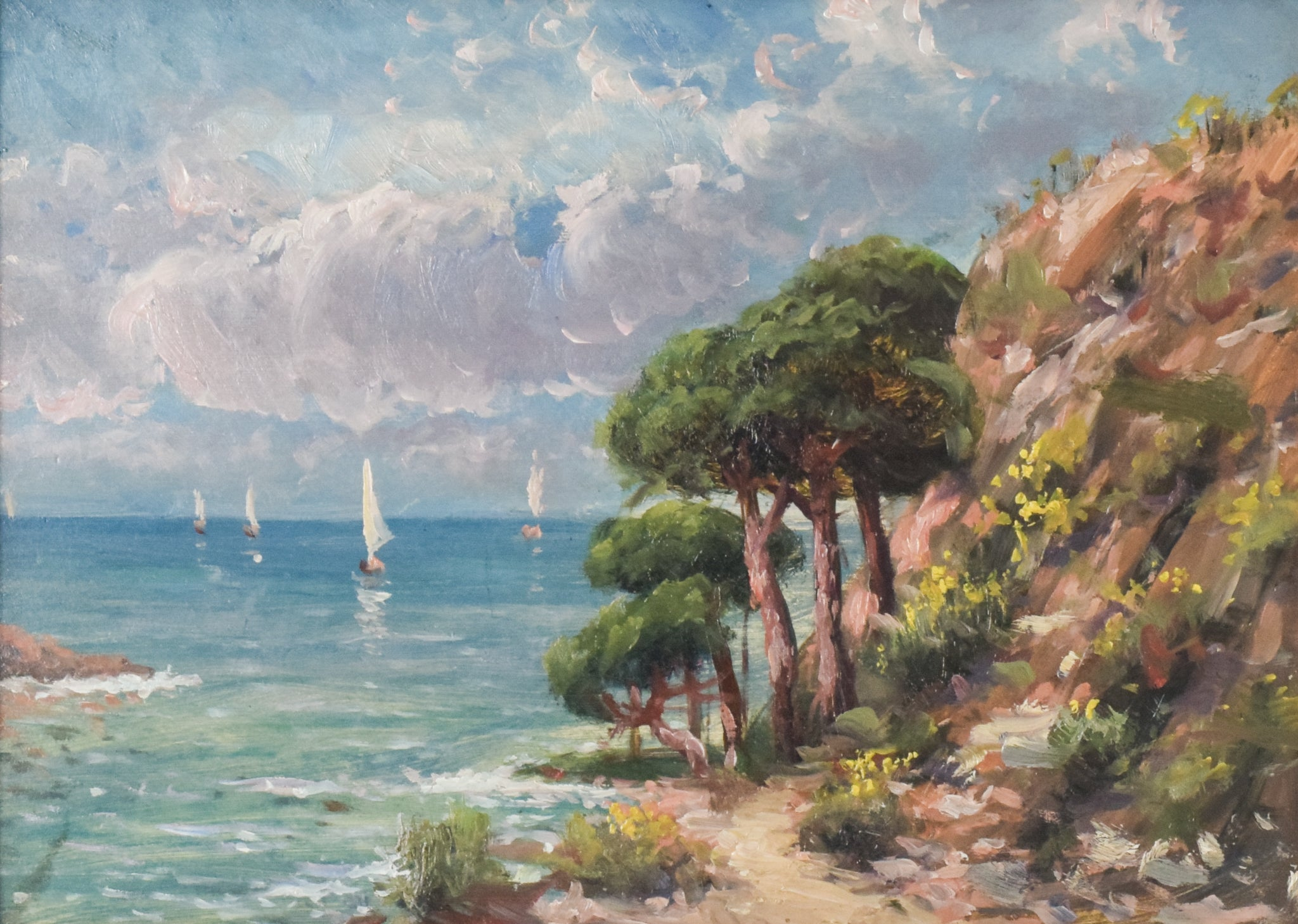 Coastal Landscape with Sailings Boats and Flowers