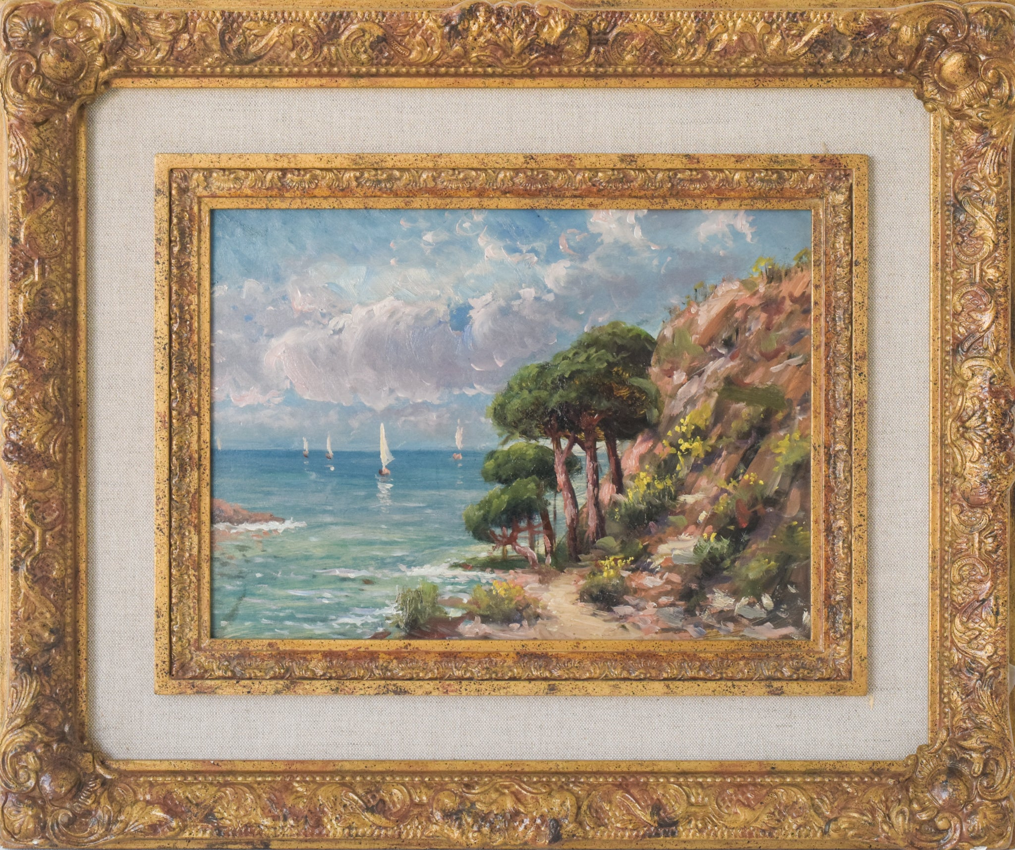 Coastal Landscape with Sailings Boats and Flowers_Framed