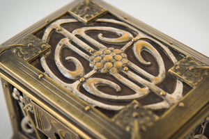 Early Art Nouveau Handmade Box in Brass and Silver_Top