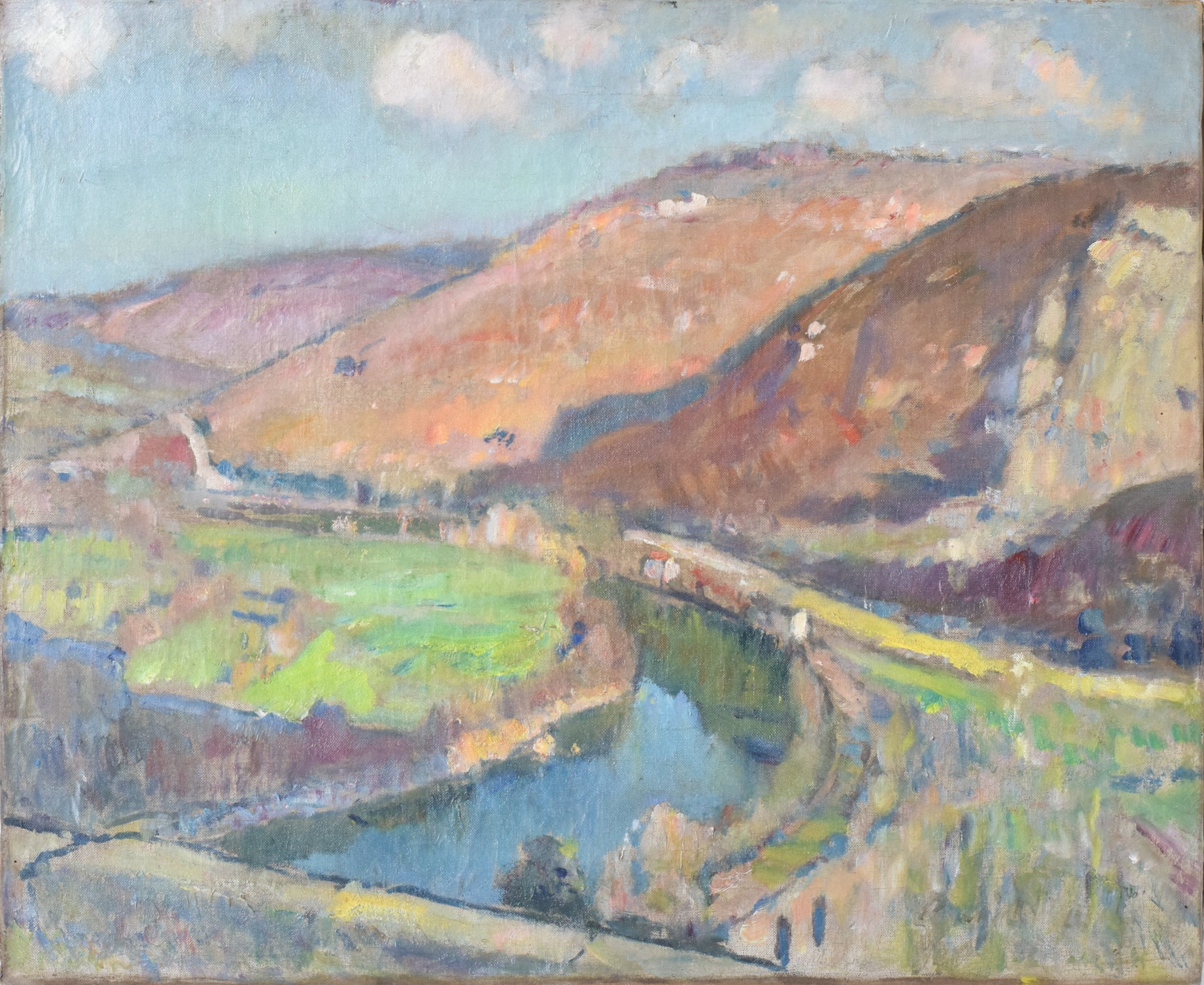 Impressionist Landscape with Hills and River