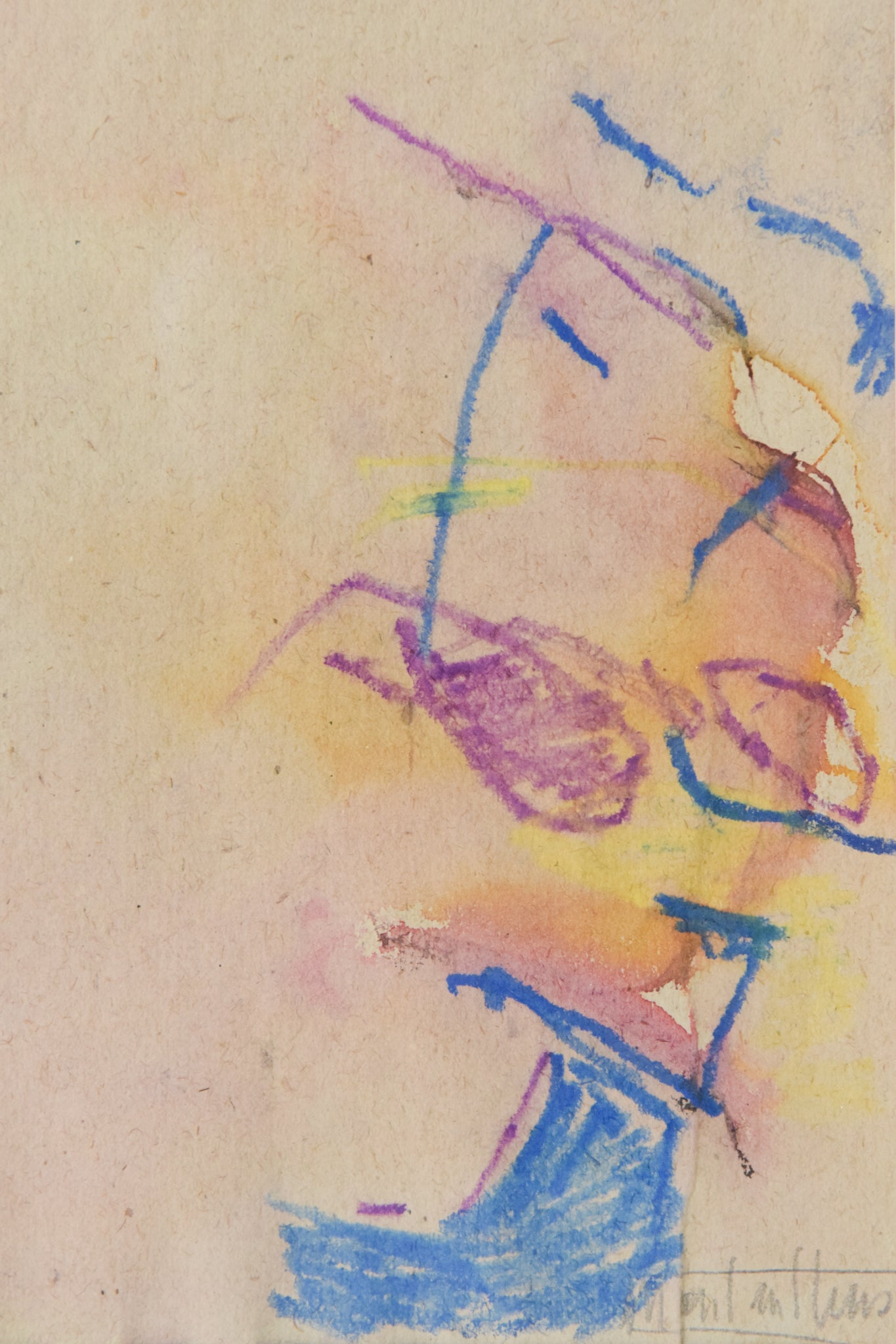 Abstract Expressionist Painting in Crayon_Detail