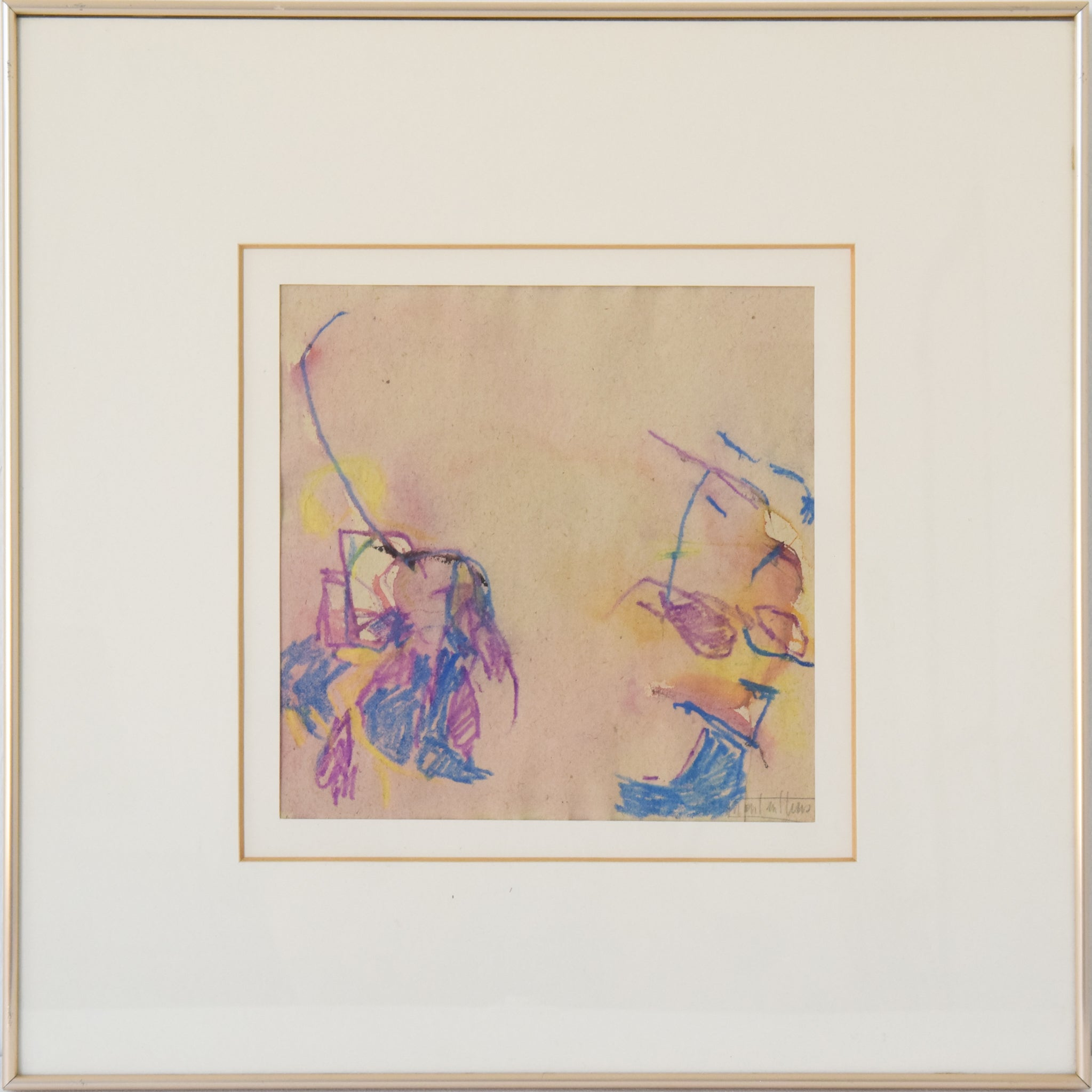 Abstract Expressionist Painting in Crayon_Framed