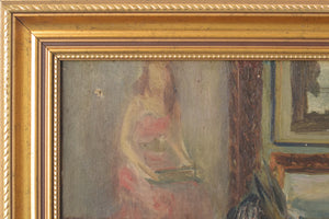 'Lady and Antique Dealer' Interior Scene_Frame Detail