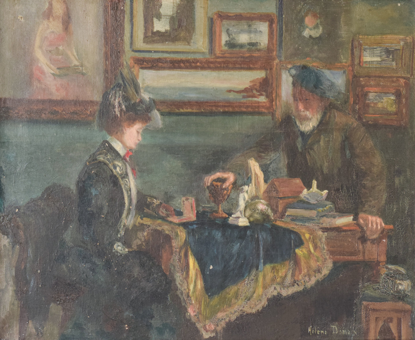 'Lady and Antique Dealer' Interior Scene