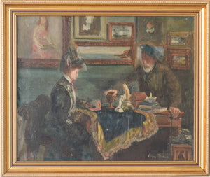 'Lady and Antique Dealer' Interior Scene_Framed