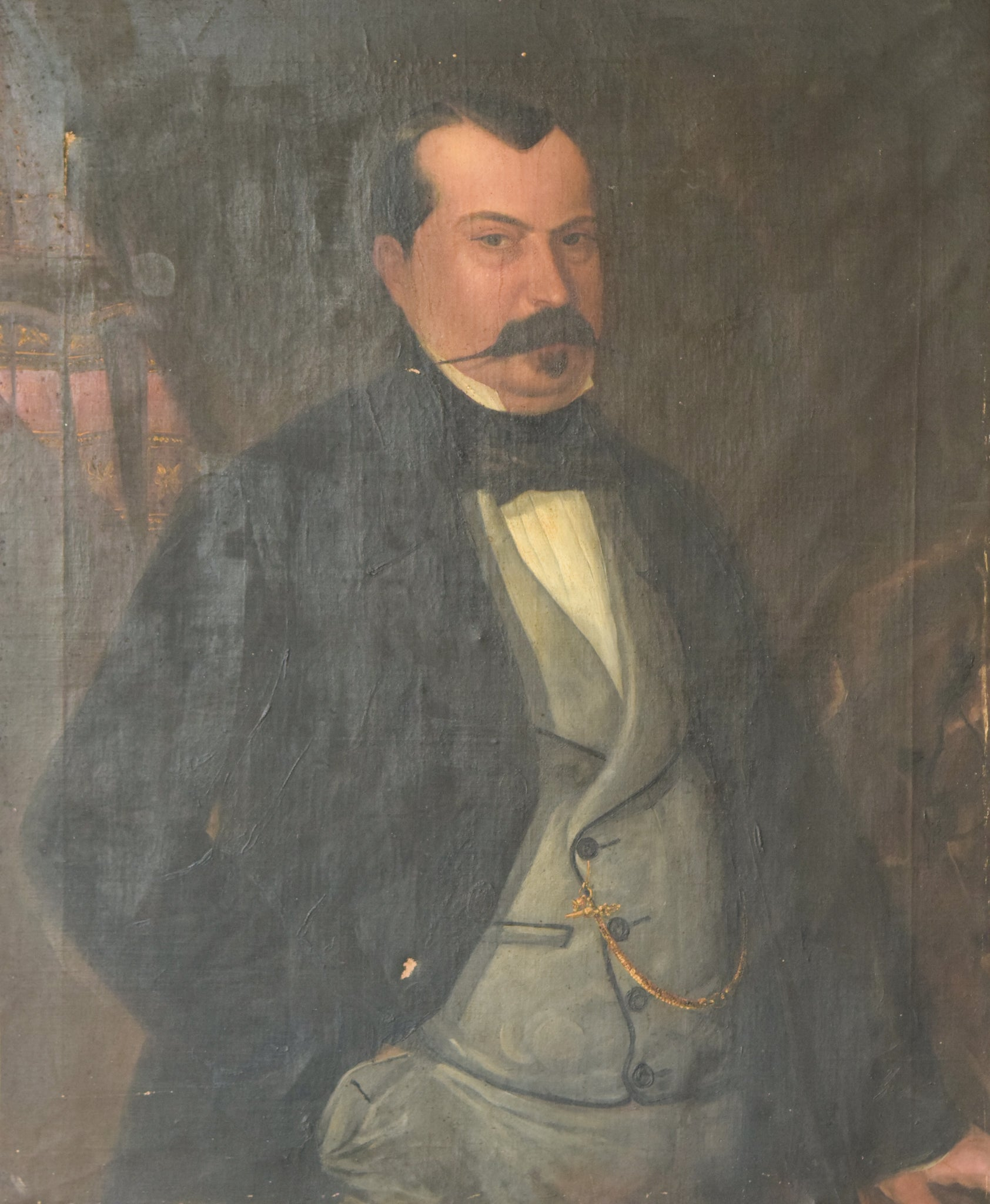 Large Portrait in Oil of a Spanish Aristocrat