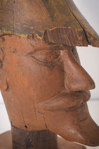 Hand-carved Wooden Head of a Soldier