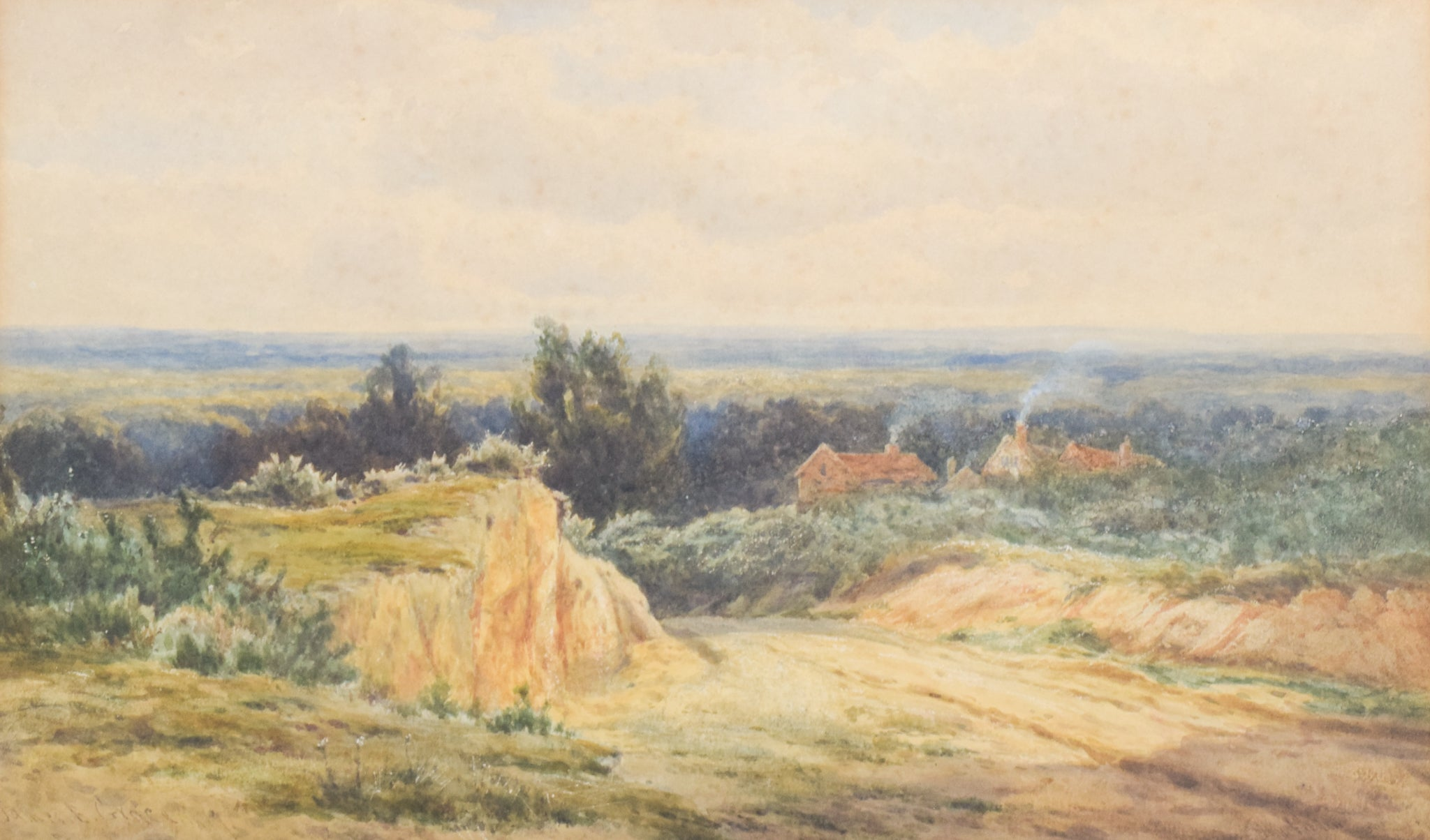 'Rural Landscape' watercolour by James Edward Grace