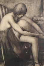 Load image into Gallery viewer, Drawing in Charcoal of a Woman in an Armchair_Detail