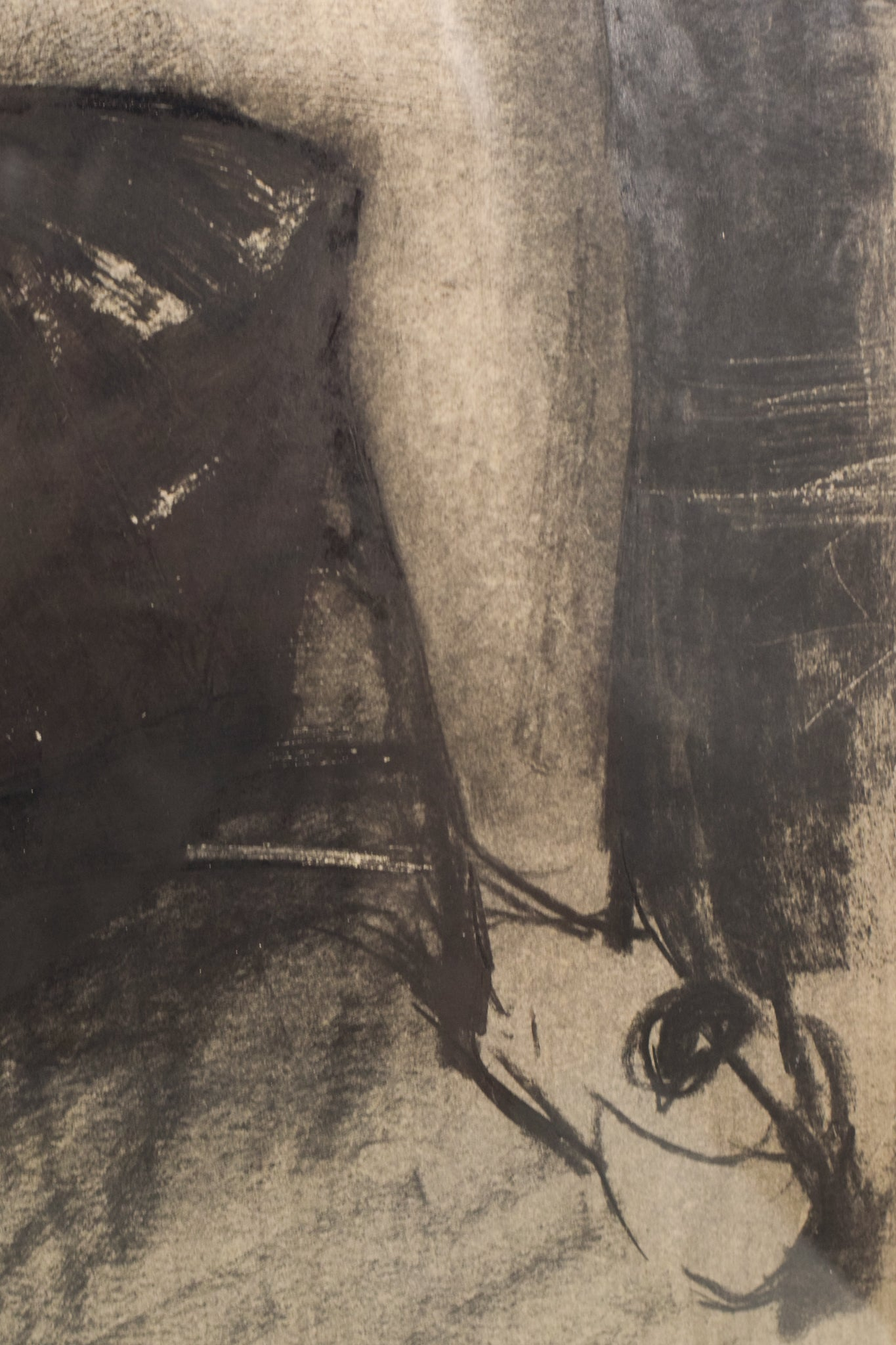 Drawing in Charcoal of a Woman in an Armchair_Detail