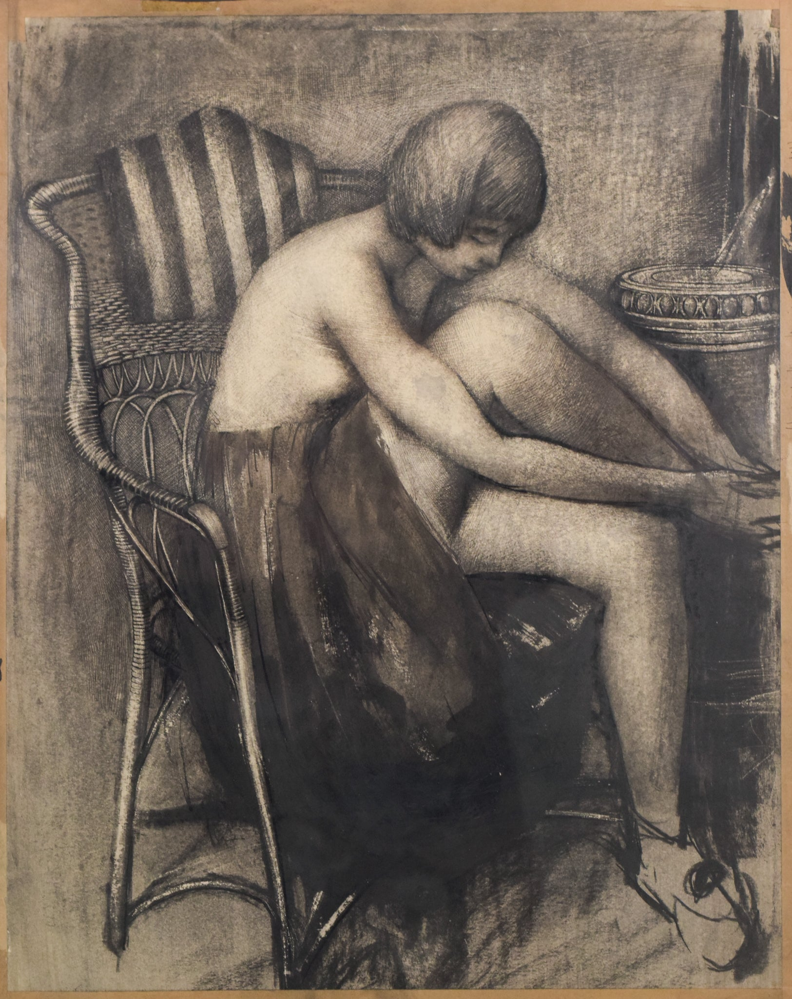 Drawing in Charcoal of a Woman in an Armchair