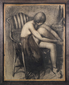 Drawing in Charcoal of a Woman in an Armchair_Framed