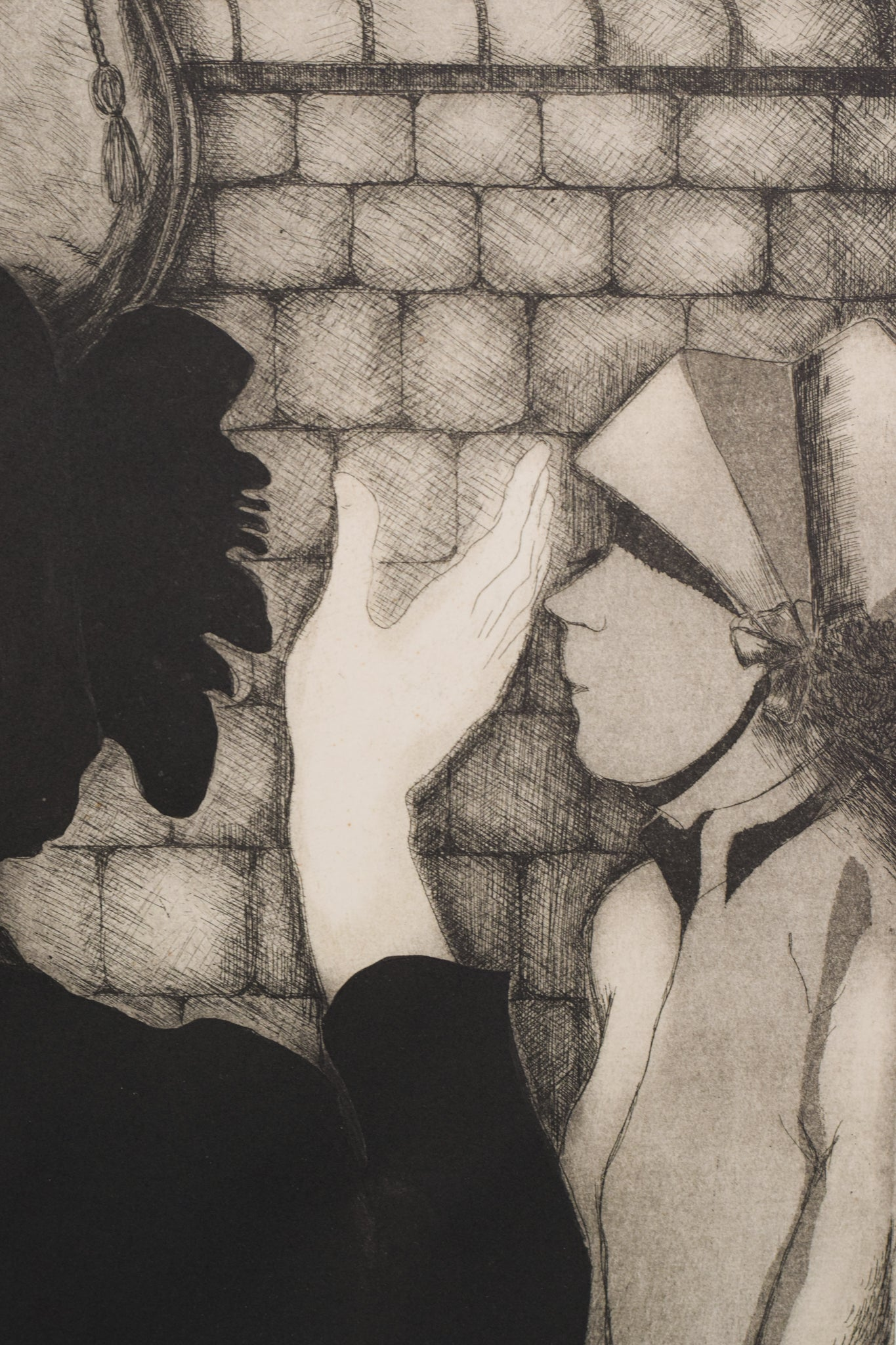 'Sally Army' etching by Margaret Sheaff_Detail