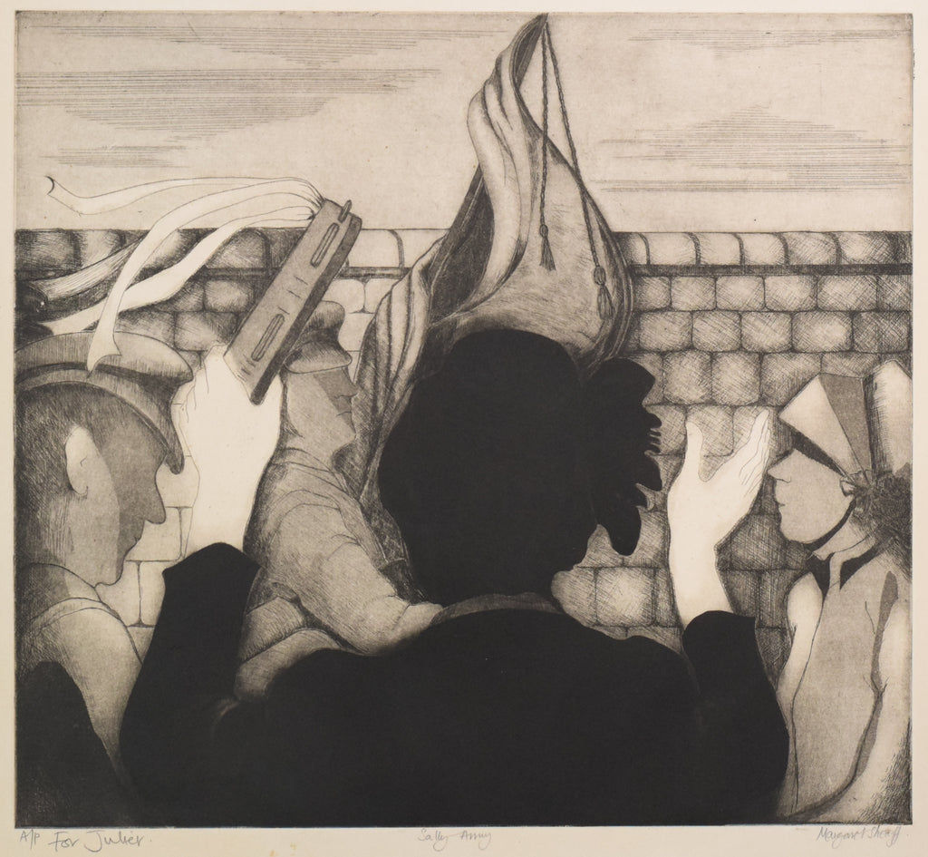 'Sally Army' etching by Margaret Sheaff