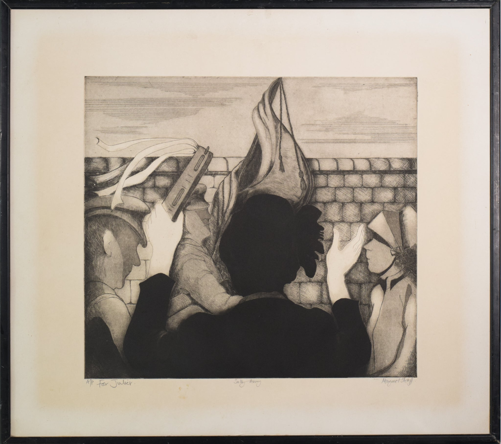 'Sally Army' etching by Margaret Sheaff_Framed