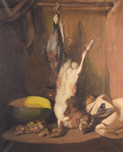 'Still Life with Hare and Melon' oil on canvas
