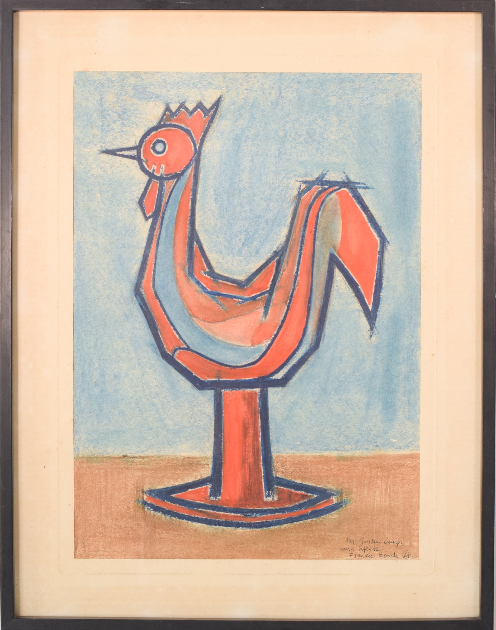 Modernist Pastel of a Cockerel Figurine by Francesc Bosch_Framed