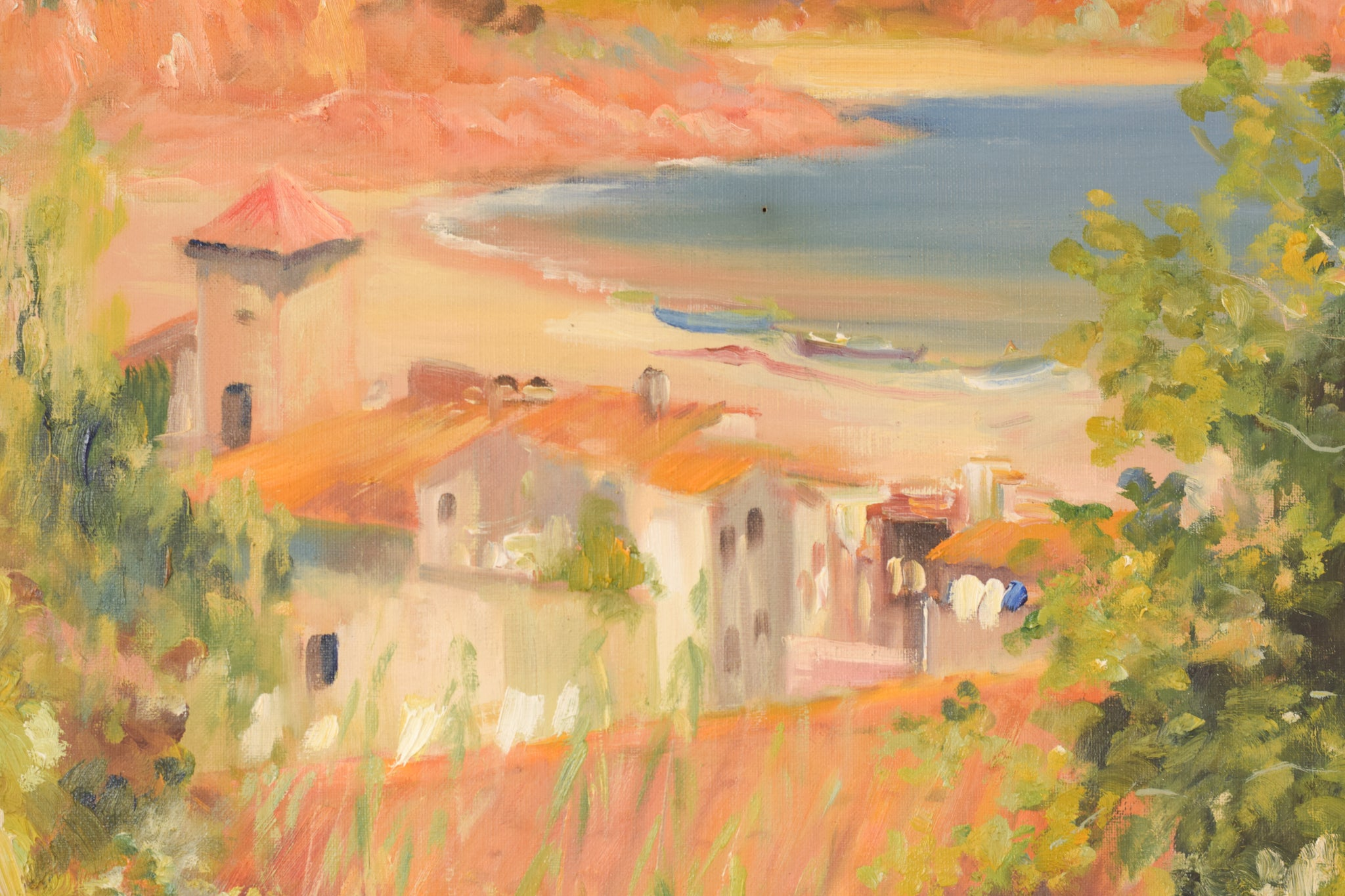Seaside Landscape with a Village amongst the Hills_Detail