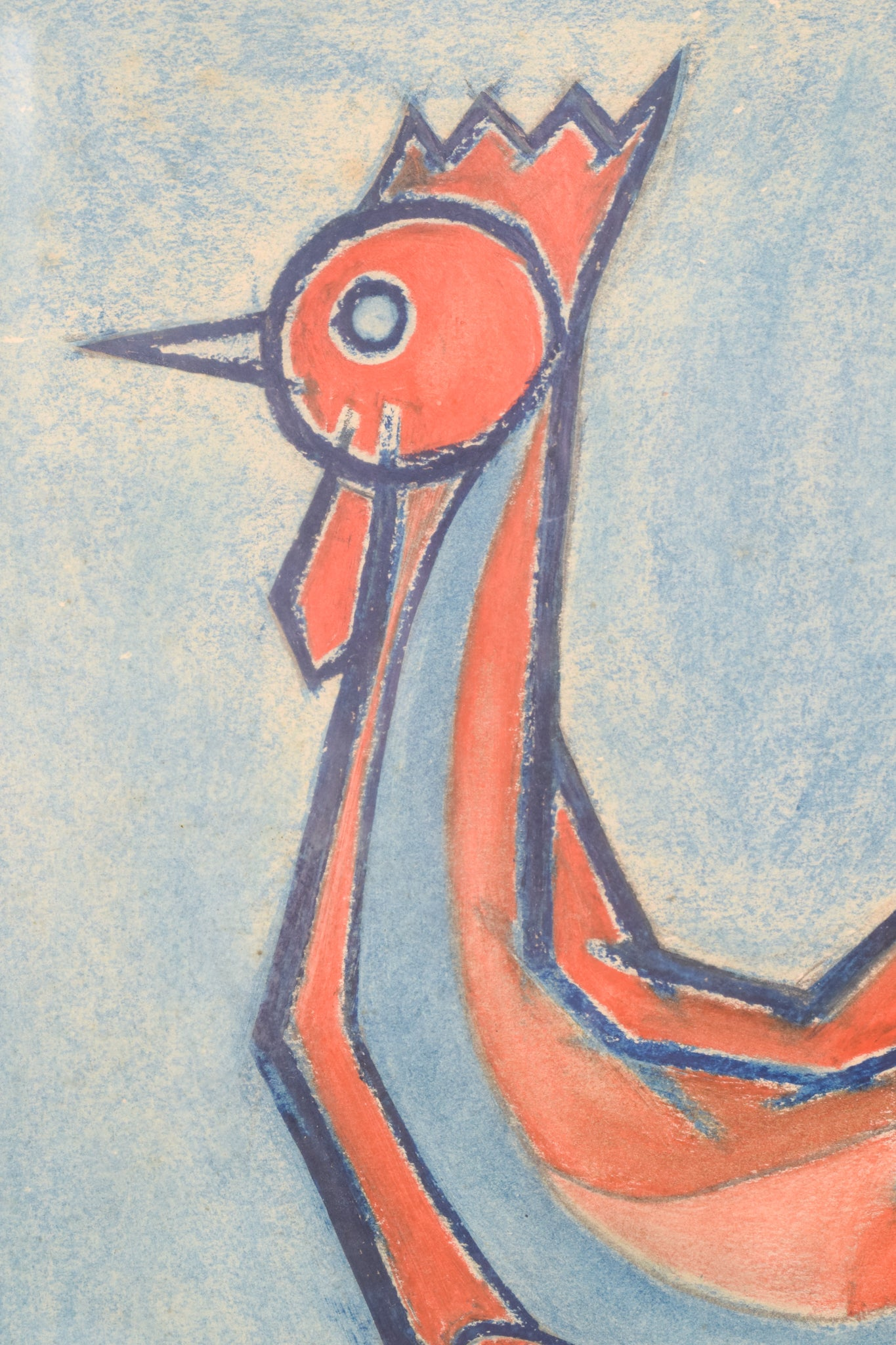 Modernist Pastel of a Cockerel Figurine by Francesc Bosch_Detail
