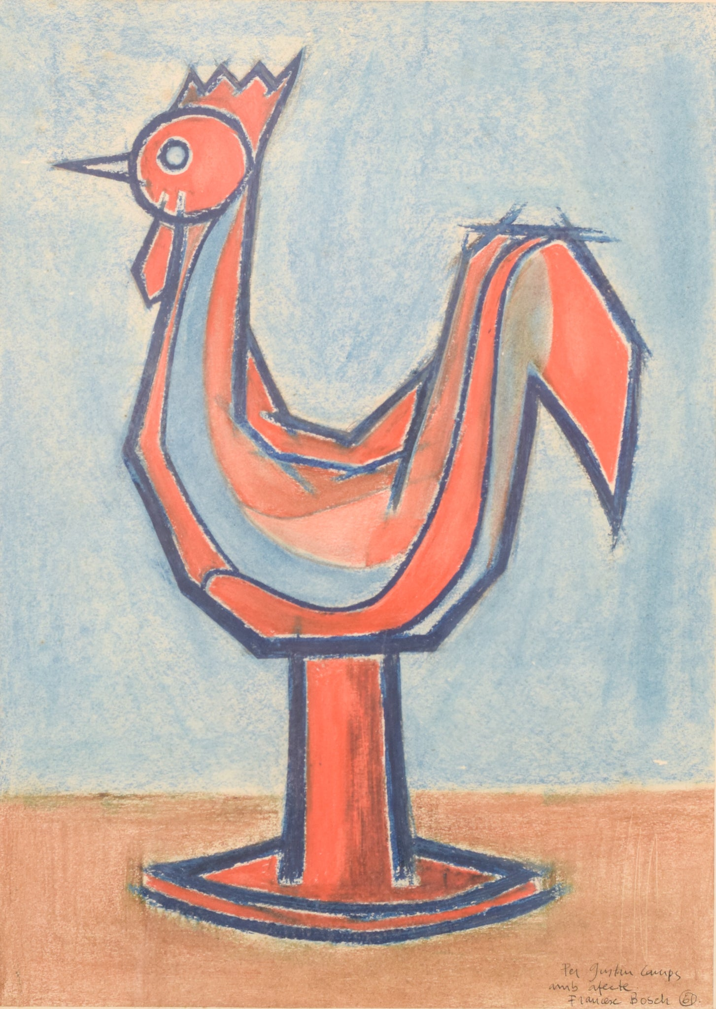 Modernist Pastel of a Cockerel Figurine by Francesc Bosch