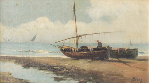 Boats on the Shore - Traditional Oil painting on board