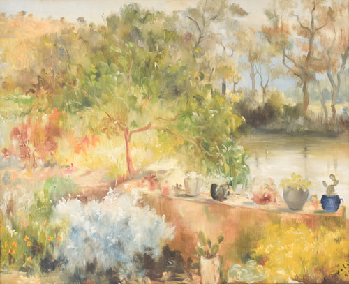 'Summer Garden with Trees and Lake' Large Oil Landscape