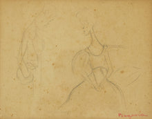 Load image into Gallery viewer, 'A Conversation' Pencil Drawing of an Elegant Lady and Man